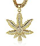 Halukakah  Marijuana  Uomo Maschile 18K 18 Carati Placcato Oro Reale Marijuana Pendente Collana con Catena Cubana Gratuita 30'