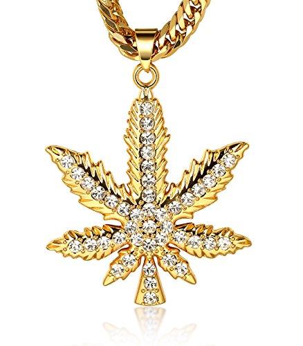 Halukakah ● Marijuana ● Uomo Maschile 18K 18 Carati Placcato Oro Reale Marijuana Pendente Collana con Catena Cubana Gratuita 30'