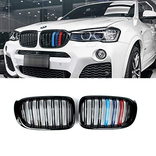 SNA Gloss Black ABS Front Kidney Grille with Double Slats M Color Stripes Mesh Grill Compatible for BMW X3 F25 X4 F26, 2-pc Set