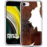 TalkingCase Clear Thin Gel Phone Case for Apple SE 2020, iPhone 8, 7, 6S,Dairy Cow Fur Print,Light Weight,Ultra Flexible,Soft Touch,Anti-Scratch,Designed in USA