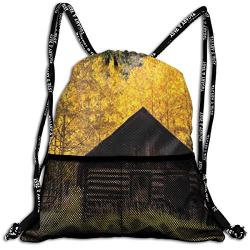 AZXGGV Drawstring Backpack Rucksack Shoulder Bags Gym Bag Sport Bag,Abandoned Wooden Farmhouse In Fall with Aspen Trees Rural Pastoral Nature Scene