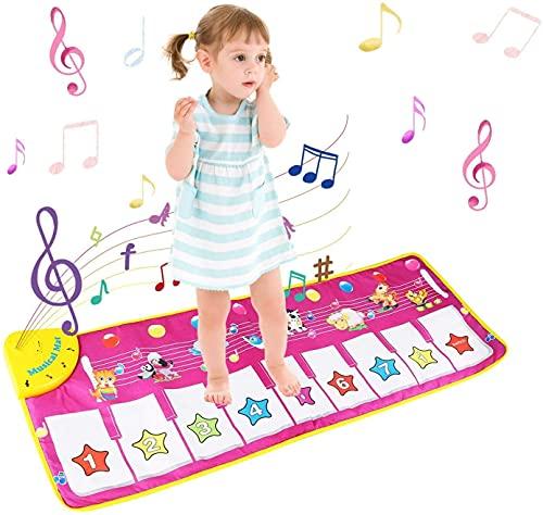 NEWSTYLE Tapis de Musique, Tapis Musical Bébé, Tapis de Jeu Musical, Tapis de Jeu Piano Enfants, Tapis de Danse Con Animaux Sons Jouets Educatifs Musicale pour Enfants, Filles, Garçons (100 * 36 cm)