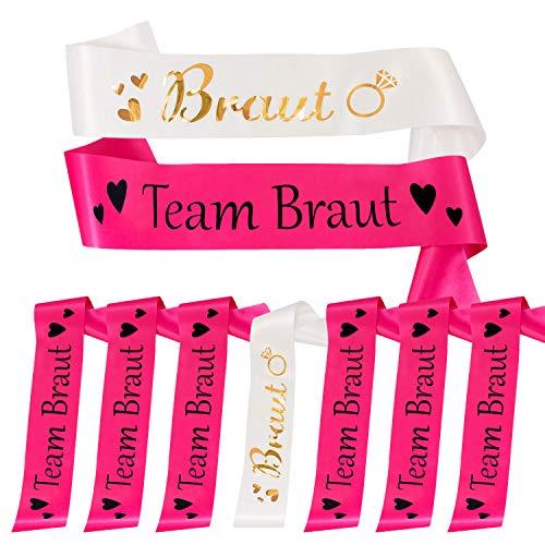 Oblique Unique® Braut + Team Braut Schärpe Set für Junggesellinnenabschied JGA Hen Party Hochzeit Accessoires in Pink Weiß mit Herzen und Diamant Ring