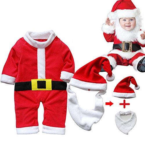 Odziezet Navidad Disfraz Bebé Santa Claus Niña Niño Conjunto Mono Christmas Traje + Sombrero con Barba 2PC 0-2 años