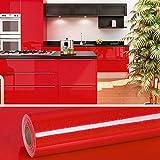 VEELIKE Papel Pintado Vinilo Papel de Paredes Autoadhesivo Rojo Brillo Papel Pared Adhesivas para Muebles Puertas de Armario Encimera Cocina 0.4m x 18m