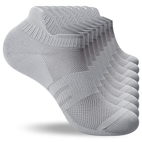 coskefy Sneaker Socken Herren 43-46 39-42 35-38 47-50 8 Paar Laufsocken Damen aus Baumwolle Atmungsaktiv Sportsocken Weich Knöchelsocken (Hellgrau, 39-42)