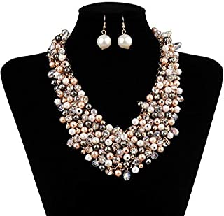 IPINK Fashion Women Big Faux Pearl Multi Strand Chunky...