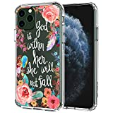 MOSNOVO iPhone 11 Pro Case, Floral Flower with Christian Quotes Pattern Clear Design Transparent Plastic Hard Back Case with TPU Bumper Protective Case Cover for Apple iPhone 11 Pro (2019)