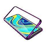 Tankle 小米科技redmiグレードナインカバー磁気吸着電話ケース、強化ガラスワンピースのデザインフリップカバー付き超薄い透明の携帯電話ケース360度完全な保護メタルバンパーに対応ケース (Color : Purple, Size : Redmi note 9s)