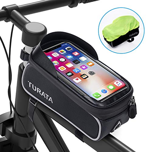 Bike Frame Bag, TURATA Waterproof Bike Pouch Bag, Cycling Front Top Tube Touchscreen Sun Visor Storage Bag with Headphone Hole for iPhone Samsung and other Smartphone Below 6.5 Inch