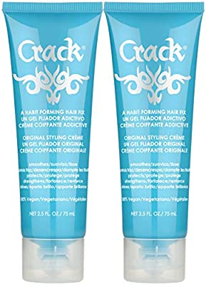 CRACK HAIR FIX Styling Creme - Multi-Tasking, Anti-Frizz, Leave-In Styling Aid With Protection from Humidity, Chlorine, Heat Treatments & Sun ( 2.5 Oz / 75 Milliliter - PACK OF TWO )