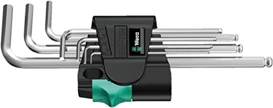 Wera 5022720001 Stainless 3950 PKL.9 Ball - point Metric Hex - Plus Ergonomic L - Key Set with Two - Component Storage Cli...