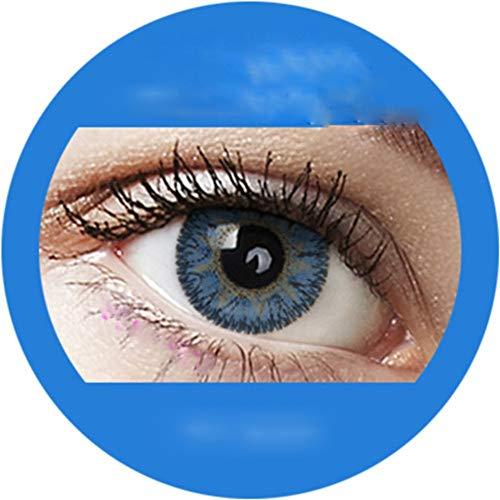 Ocean Blue: Farbige Jahres Kontaktlinsen ohne Stärke mit Aufbewahrungsbox braun blau grün grau türkis weich als 2er Pack (2 Stück) angenehm zu tragen, perfekt für helle und dunkle Augen