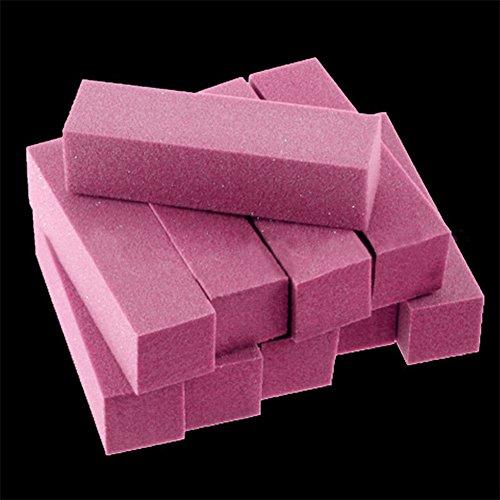 dljztrade 10pcs Ongles Tampons Blocs 4 Côtés Manucure Polissage Fichiers De Ponçage Outil De Polissage Salon Art Rose