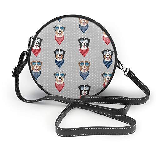 Aussie Gafas de sol pastor australiano de verano para perro mascota, gris, pequeño, redondo, bolso bandolera para hombro, bolso clásico y elegante