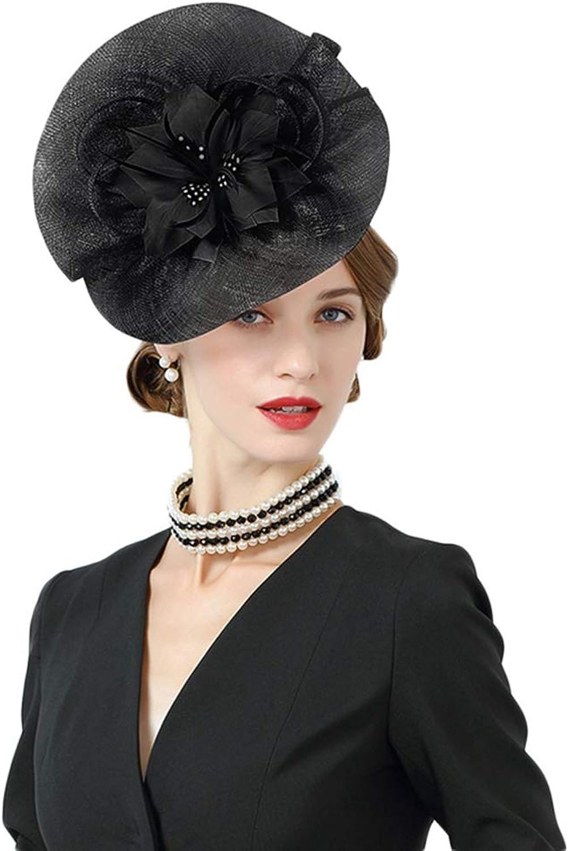 Giles Jones Pink Fascinator Hat for Women Sinamay Hat with Flower Wedding Party Pillbox Cap