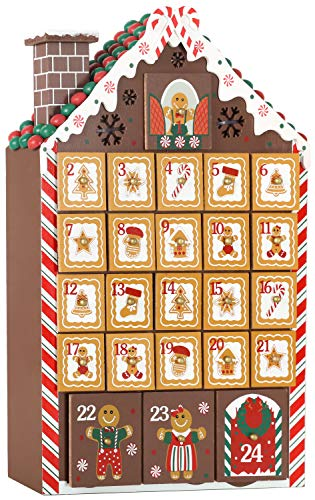 BRUBAKER Reusable Wooden Advent Calendar to Fill - Gingerbread House with LED Lighting - DIY Christmas Calendar 10.31 x 17.72 x 2.17 inches