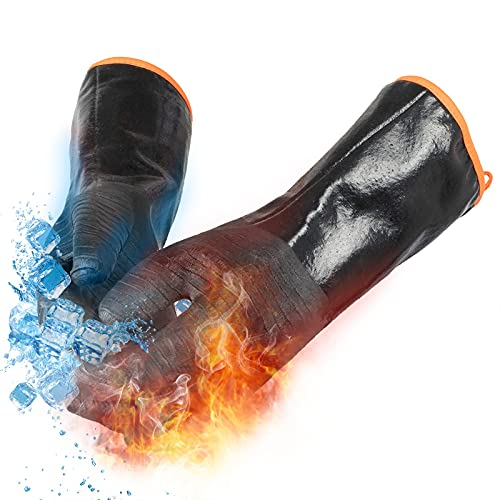 OYOGAA Grill BBQ Gloves, 932℉ Heat Resistant Oven Gloves Cooking Barbecue Gloves, Great for Barbecue, Cooking, Baking, Grilling – Waterproof, Fireproof, Oil Resistant Neoprene Material (14 inch)