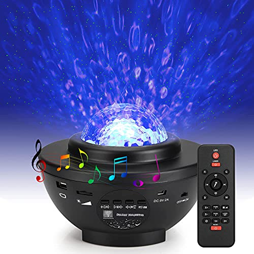 Star Projector Stage Light, Water Wave Lights with Remote for Christmas Halloween Garden Indoor Wedding Party Holiday Disco Kids. (4 in 1 Star Projector Light)