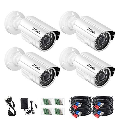 ZOSI 4 Pack 2.0MP 1080P 1920TVL HD-TVI Indoor Outdoor CCTV Cameras Kits 80ft IR Day Night Vision Waterproof Cameras Aluminum Housing for 720P / 1080N / 1080P/5MP/4K HD-TVI AHD CVI Analog DVR Systems
