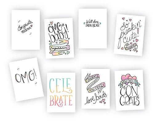 Congrats Baby. Cute Modern Baby Congratulations Cards multipack- 8Fun Designs–24carte