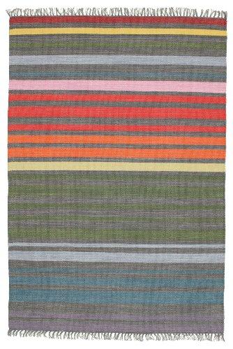 CarpetVista Alfombra Rainbow Stripe, 140 x 200 cm, Rectangular, Moderna, Algodón, Corredor, Cocina, Salón, Comedor, Dormitorio, Multicolor