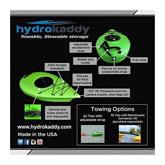 Extreme sport outfitters hydrokaddy 3 extra storage for your paddling adventure keeps personal items dry and safe- yet convenient- while you are on the water. For example, coolers, food, beverages, smartphones, tablets, jewelry, car keys, medication, first aid kits, sleeping bag, tent, etc. Easy access design to keep everything at your fingertips
