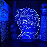 3D Illusion Lamp 16 Color Changing Acrylic LED Night Light with,Art Sculpture Lights Room Home Decoration,USB Charger, Pretty Cool Toys Gift Ideas Birthday Holiday Xmas for Baby My Hero Academia Hawks