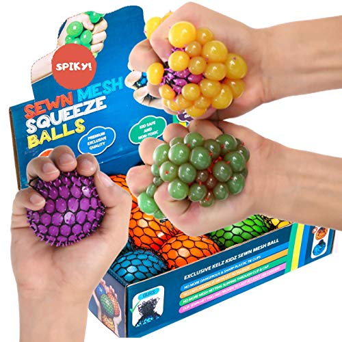 KELZ KIDZ Quality & Durable Medium (2.5 Inch) Spiky Mesh Squishy Balls with Exclusive Sewn Mesh! (12 Pack)