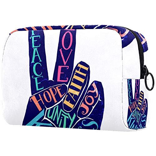 Borsa per il trucco Borsa per cosmetici da viaggio Borsa per borsetta con cerniera - Love Peace Fath Joy Hope Unity Gentilezza