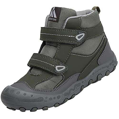 Mishansha Senderismo Trekking Zapatos Niño Transpirable Zapatillas de Senderismo Niñoso Botas de Montaña Invierno Adolescente, Verde 26
