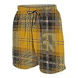 KOiomho Hombres Personalizado Trajes de Baño,Patrón de Cuadros Escoceses de tartán escocés Amarillo,Casual Ropa de Playa Pantalones Cortos