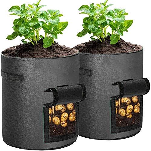 Bolsas de cultivo de patata, 10 galones con solapa, 2 unidades, gruesas y transpirables, de tela no tejida, bolsas de tela premium para...