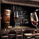Personnalisé 3D Photo Papier Peint Étanche Peinture Vin Rouge Brique Mur Affiche Murale Papier Peint Pour Cuisine Salle À Manger Décor-200X140CM