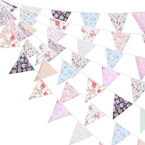 39,3 Pies de Bandera de Empavesado de Tela Bandera de Triángulo Rosa y Blanco Guirnaldas de Banderines para Boda Bautismo Fiesta de Cumpleaños Decoración de Jardín Actividad Exterior