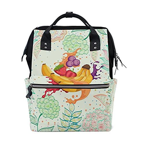 LDIYEU Blumenfrucht-Bananensaft Einkaufstasche Faltbar Wiederverwendbare Tragbare Aufbewahrung Stofftasche Dauerhaft Handtasche für Frauen Mädchen
