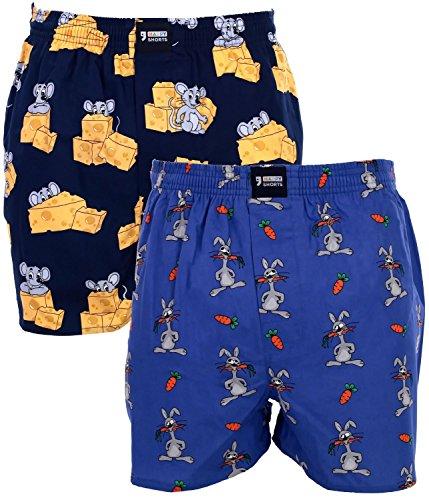 Happy Shorts 2 Webboxer Herren Boxer Motiv Boxershorts Design 19, Grösse:M - 5-50, Präzise Farbe:Design 19