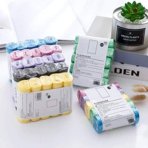 PULABO Refuerzo de bolsas de basura, nuevos materiales, cocina, inodoro, hogar punto roto bolsas de plástico, 5 rollos, 100 paquetes. calidad superior y creativa conveniente