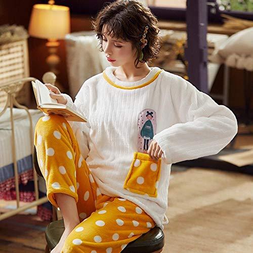 FZH Conjuntos de Pijamas para Mujer Invierno Más Grueso Cálido Coral Terciopelo Dulce Kawaii Chic Moda Mujer Ropa Ocio-19_Metro