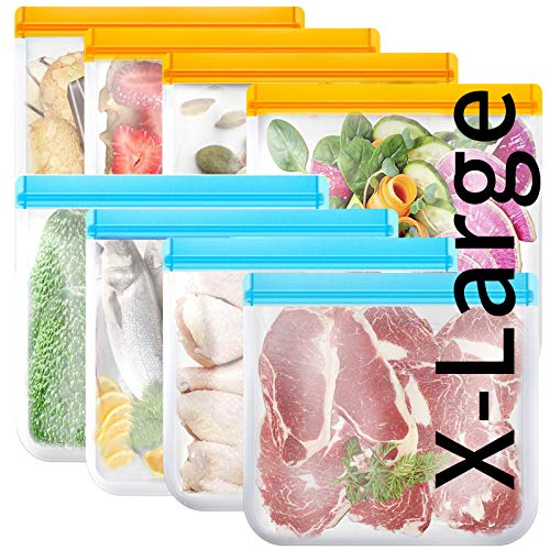 Reusable Gallon Freezer Bags 8 Pack Silicone Food Storage Bags BPA Free Reusable Food Storage Bags for Lunch Meat Frozen Chicken Breast Fruit Vegetables