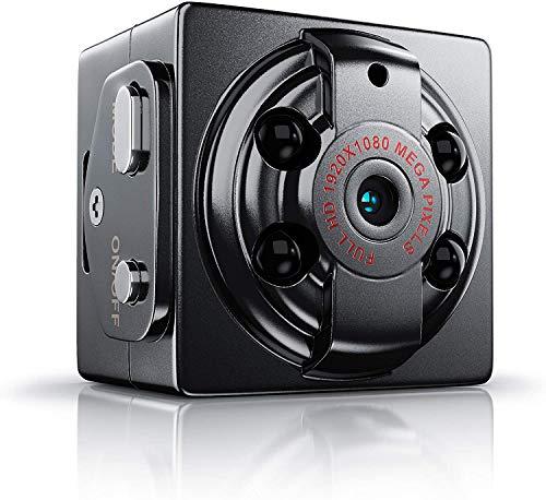 Mini telecamera con visione notturna e rilevamento di movimento, batteria integrata, funzione di registrazione loop, slot per scheda microSD, telecamera di sorveglianza
