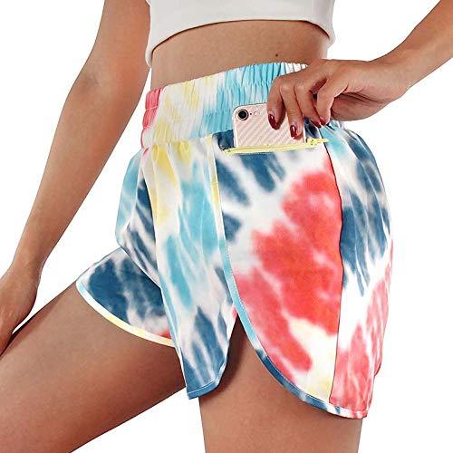 XOXSION Pantalones cortos de verano para mujer, elásticos, ligeros, deportivos, sueltos, pantalones cortos informales, para yoga, a la moda, pantalones cortos para la playa (rojo, XL)