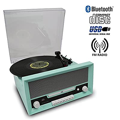 Fenton RP135 Retro 60s Record Player, Bluetooth Streaming, CD Player, FM Radio, Built In Speakers, AUX Input