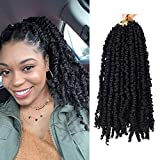 """4 Packs 12 inch Pre-twisted Passion Twists Crochet Braids 48 Strands Black Pre-looped Spring Bomb Crochet Hair Extensions Fiber Fluffy Curly Twist Braiding Synthetic Hair (12"""", 1B)"""