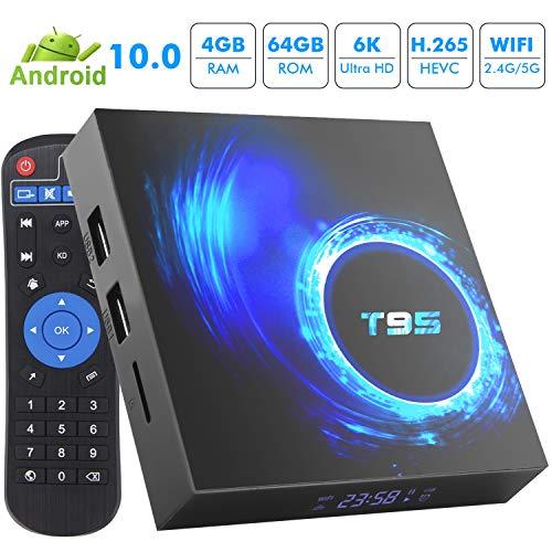 TV Box Android 10.0, T95 Android TV Boxes 4 GB RAM 64 GB ROM H616 Quad-Core 64-bit, unterstützt 6K, 3D, WiFi, 2.4G USB 3.0 Smart TV Box