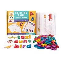 NUOBESTY 1セット単語スペル学習おもちゃ木製アルファベットフラッシュカード文字パズルゲーム教育発達モンテッソーリおもちゃ幼児のため