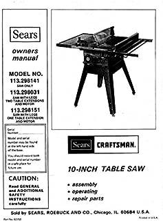 Craftsman 113.298141 113.298031 113.298151 Table Saw Instruction Manual Reprint [Plastic Comb]
