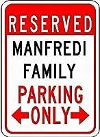 ウォールアートティンサインクリスマスおかしいギフト男性、マンフレディ家族駐車場、パークサインパークガイド警告サイン私有財産用金属屋外危険サイン