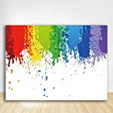 Felizotos White Paint Splatter Background Abstract Graffiti Painting Backdrop Art Party Colorful Wall Brush Let's Paint Photography Photo Studio Supplies