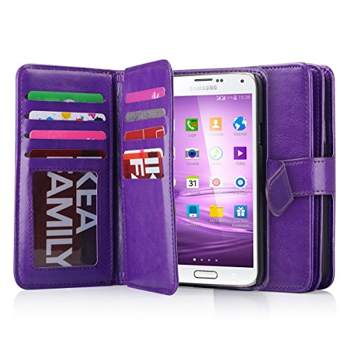 J.west Galaxy S5 Case, S5 Wallet PU Leather Multi Card Slots Series Magnetic Wallet Case Cover for Samsung Galaxy S5 SV Galaxy S V i9600- Purple